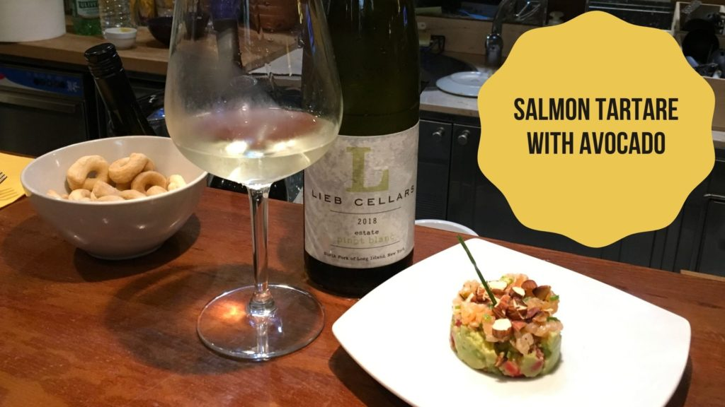 SALMON TARTARE AND LIEB PINOT BLANC